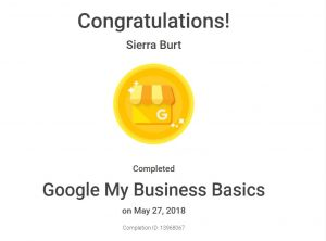 Google My Business Basics Award