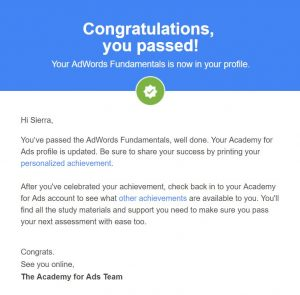 Google AdWords Fundamentals Course Award