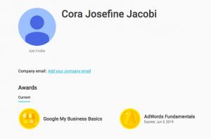 Cora Josefine Jacobi Google Certificates